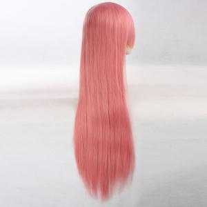 Ultra Long Side Bang Layered Glossy Straight Synthetic Naruto Cosplay Anime Wig - Rose Fumu00e9