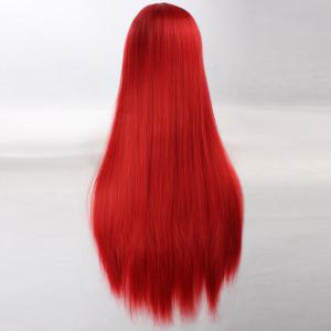 Side Bang Ultra Long Layered Glossy Straight Synthetic Naruto Cosplay Anime Wig - Rouge
