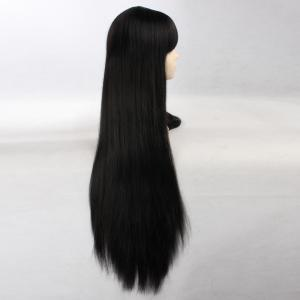Ultra Long Side Bang Layered Glossy Straight Synthetic Naruto Cosplay Anime Wig - BLACK