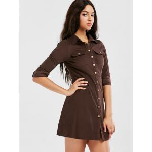 Button Up Long Sleeve Shirt Dress -
