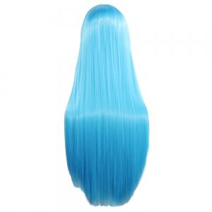 Ultra Long Side Bang Layered Glossy Straight Synthetic Naruto Cosplay Anime Wig - WINDSOR BLUE