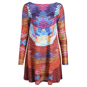 Long Sleeve Back Low Cut Tie-Dyed Colorful Dress - COLORMIX 2XL