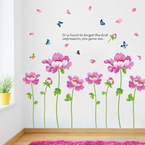 Peony Flower Vinyl Decorative Wall Sticker - PINK 60*90CM