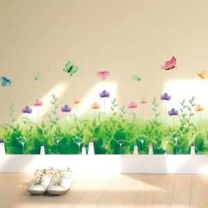 Pastoral Removable Skirting Line Wall Sticker - Green - 50*70cm