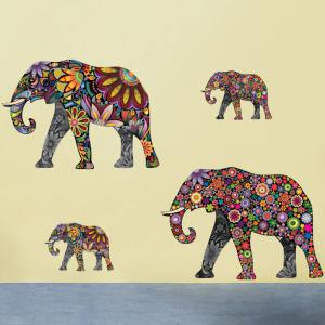 Ethnic Floral Elephant Wall Art Sticker - COLORMIX 35*60CM