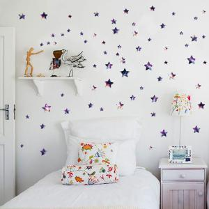 Removable DIY Star Vinyl Nursery Wall Sticker - Purple - 45*50cm