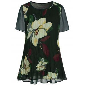 Short Sleeve Floral Plus Size Top