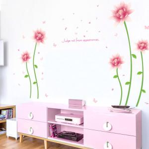Removable Floral Butterfly Letter Decorative Wall Sticker - Pink - 60*90cm