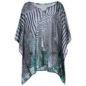 Zebra Print Plus Size Kaftan Tunic - Colormix - 3xl