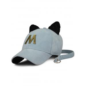 Cat Ear Metal Letter Embellish Long Tail Hat