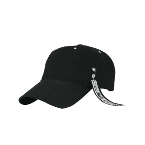 Letters Metal Circle Streamer Embellish Baseball Hat - BLACK