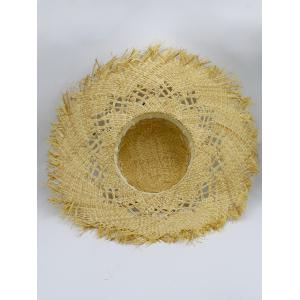 Hollow Out Woven Wide Birm Straw Hat - KHAKI