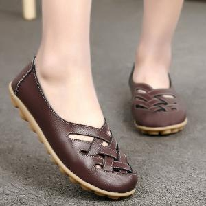 Faux Leather Criss Cross Flat Shoes - Coffee - 38