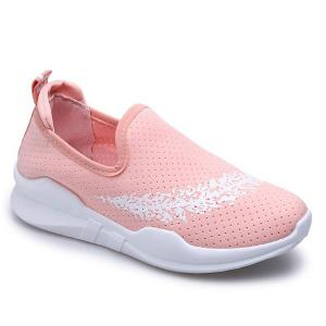 Breathable Leaf Printed Athletic Shoes - Pink - 38