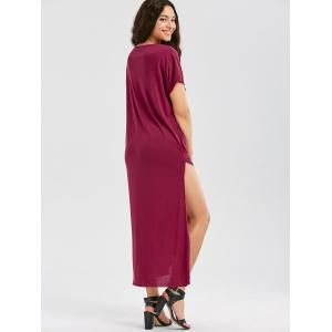 Casual Up Up Maxi T Shirt Robe - Rouge vineux S