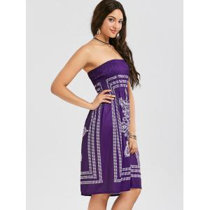 Tribal Print Bohemian Strapless Dress - PURPLE XL