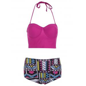 Halter High Waisted Geometric Print Bikini