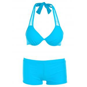 Halter Bikini with Handkerch Mesh Mesh Swimsuit - Bleu clair M