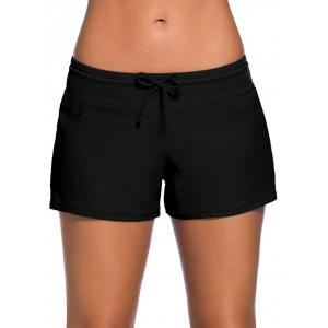 Drawstring Tied Swim Boyshort - Black - M