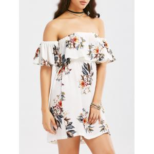 Off The Shoulder Flounce Floral Print Dress - White - M