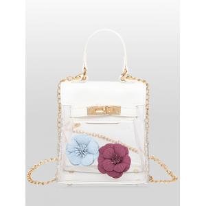 Flower Transparent Clear Handbag - White
