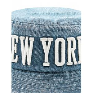 Flat Top Denim Letters Embroidered Bucket Hat -