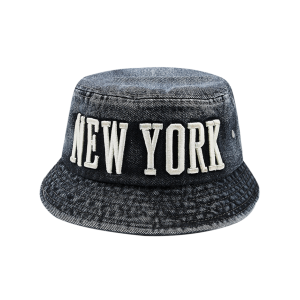 Flat Top Denim Letters Embroidered Bucket Hat