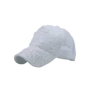 Sequin Lace Mesh Splicing Baseball Hat - WHITE