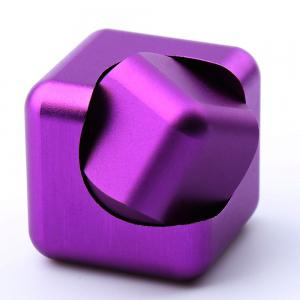 Stress Relief Toy Novelty Magic Cube Alloy Fidget Spinner - PURPLE