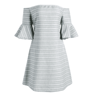 Cut Out Back Off Striped The Shoulder Dress - GREY AND WHITE L
