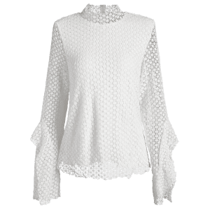 Stand Neck Bell Sleeve Hollow Out Blouse - WHITE 2XL