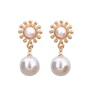 Faux Pearl Sun Shape Drop Earrings