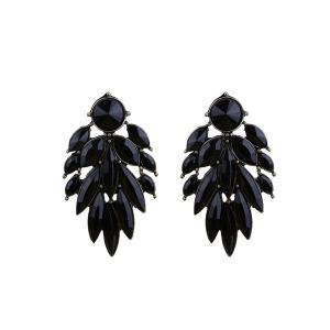Faux Gem Alloy Leaf Vintage Earrings