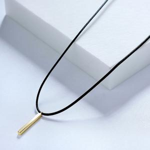 Artificial Leather Rope Bar Pendant Necklace - Golden