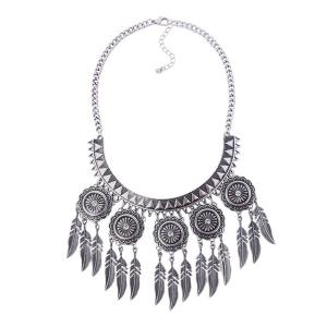 Alloy Engraved Flower Leaf Gypsy Necklace