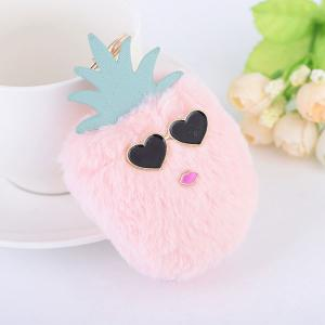 Heart Pineapple Fuzzy Key Chain