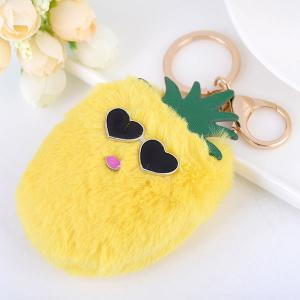 Heart Pineapple Fuzzy Key Chain - YELLOW