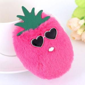 Heart Pineapple Fuzzy Key Chain - Rose Red