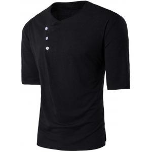 Short Sleeve Buttons Embellished Panel T-shirt