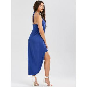 Halter Sleeveless Overlap High Low Hem Dress - BLUE 2XL
