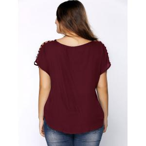 Plus Size V Neck Ripped Sleeve Tee - WINE RED 2XL