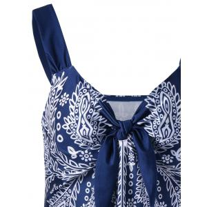 Printed Plus Size Swim Top - BLUE AND WHITE 5XL