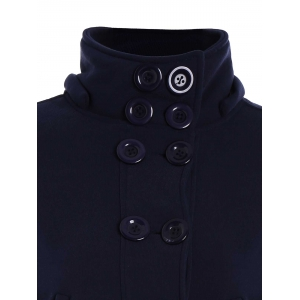 High Neck Double-Breasted Hoodie - PURPLISH BLUE L