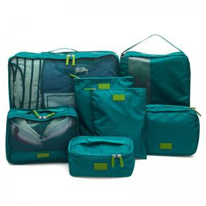 7 Set Packing Cubes Travel Luggage Organizer Bag - Blackish Green