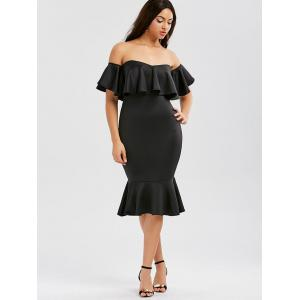 Off The Shoulder Ruffle Mermaid Dress - BLACK XL