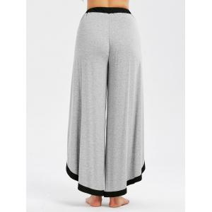 Lace Up High Slit Wide Leg Pants -