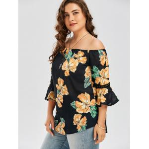Plus Size Chiffon Off The Shoulder Floral Hawaiian Blouse -