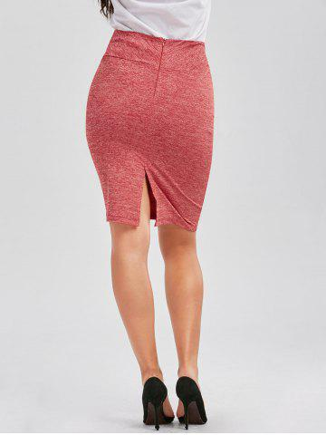 Discount Formal Knee Length Pencil Skirt - XL RED Mobile