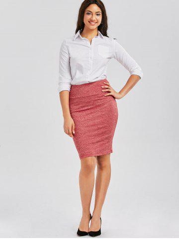 Affordable Formal Knee Length Pencil Skirt - XL RED Mobile