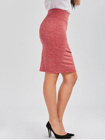 Affordable Formal Knee Length Pencil Skirt - M RED Mobile